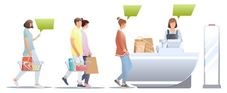 Male and female customers with shopping basket stand at store near cashier desk isolated on white background. Queue in supermarket. Concept of purchases in shop and waiting in line at the store. Anti-theft sensor, vector, illustration. Vectores