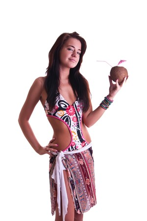 woman in swimwear with a coconut photo