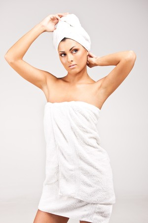 A young woman in towel photo