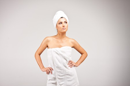 An attractive young woman in towel photo