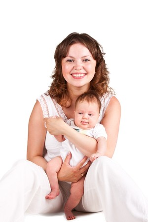 Mother holding her adorable baby Stock Photo - 7869001