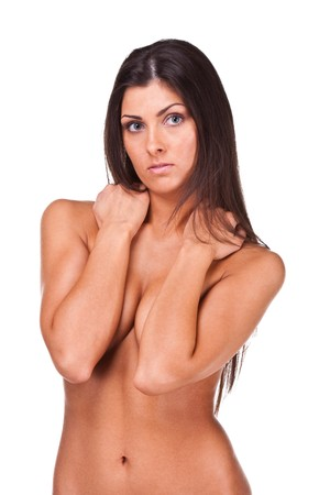 Pretty young woman covering her breast Stock Photo - 7869074