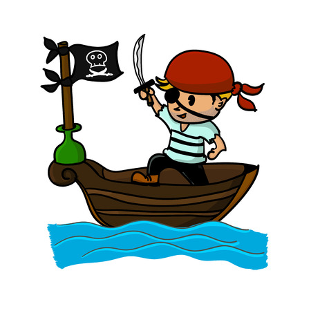 pirate boat: Pirate on boat in the sea