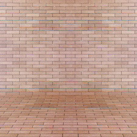 Empty interior perspective with brick tile wall photo