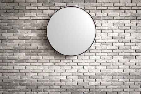 lightbox: Template of Circle Lightbox logo on the dark red brick wall