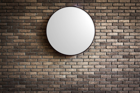 Template of Circle Lightbox on the dark red brick wall  Stock Photo