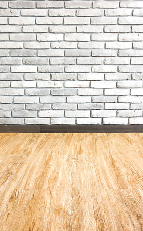 Empty interior perspective with brick wall and wood parquet  photo