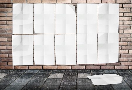 taped: Template- Wall of Crumpled Posters on brick wall & footpath ground,add your photo on white poster