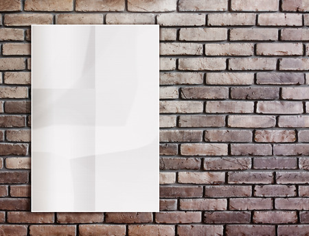Template- White crumpled  Poster on grunge brick wall and leave space for content,Background photo