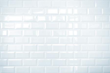 白いセラミックれんがタイル壁、クリーン 写真素材