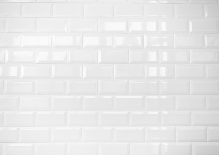 tile pattern: white ceramic brick tile wall,clean  Stock Photo