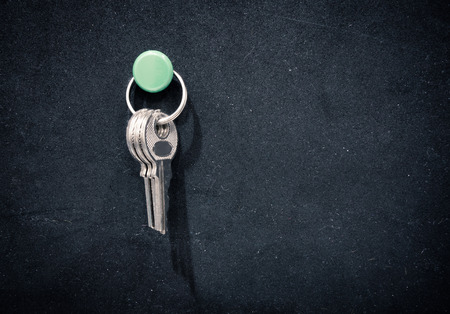 foam safe: Keys pin on black rubber board. Stock Photo