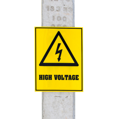 High voltage sign in park photo