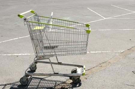 Shopping cart at parking lot,supermarket photo