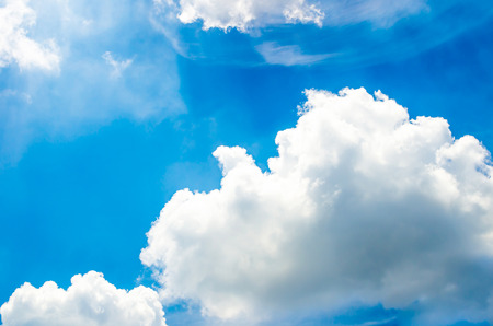 nice weather: Blue sky with cloud and ray light from sun Stock Photo