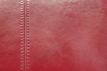 Sewing red leather ,texture background photo