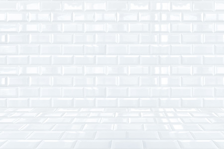 mosaic floor: Glossy White Ceramic brick tile room Stock Photo