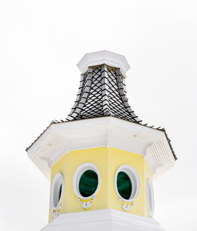 turret: yellow turret with blue sky
