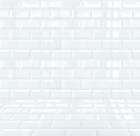 Glossy White Ceramic brick tile room Stock Photo