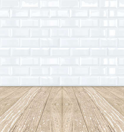 White Ceramic brick tile wall wooden floor photo