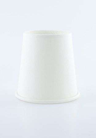 disposable cup: white paper cups on white background, leave space for fill text content