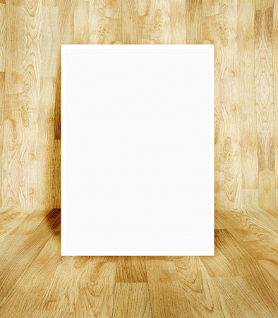 White frame at wood parquet room photo