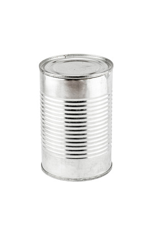 Tin can on white background. photo