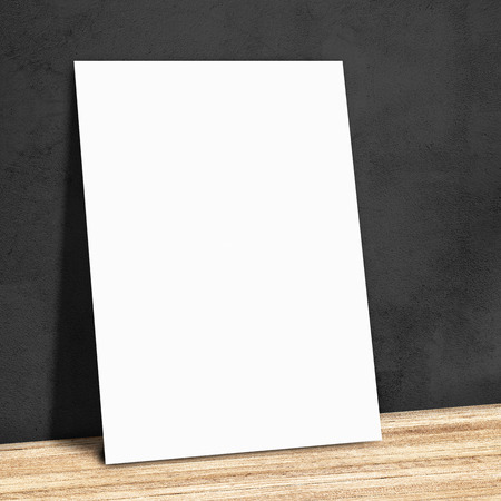 blank white paper on the black wall and the wooden floor,Mock up for your content  photo