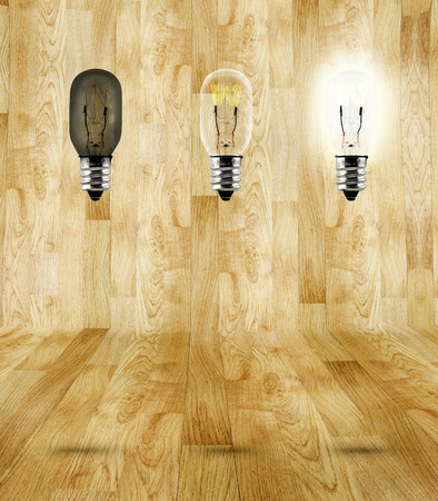 sequence of ideas thinking at wood parquet room,three bulb in room photo