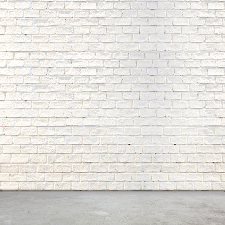brick background: White brick wall and cement floor,background