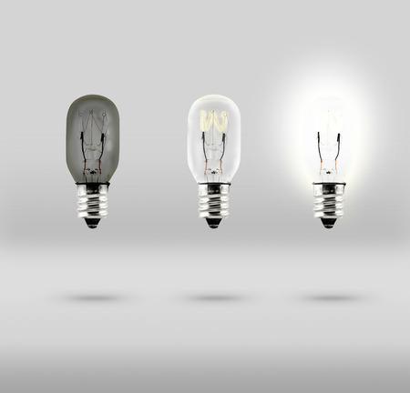 Sequence of Creative idea,three bulb in studio room. photo