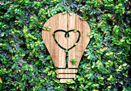 Light Bulb wood icon and heart shape inside on green leaf wall,Eco concept  photo