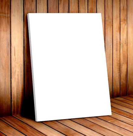 presentaion: white poster frame in wooden room,mock up for your content
