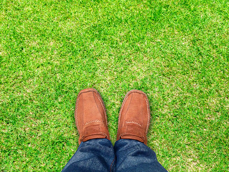 clam gardens: top view,Foot stand on grass ,Leave space for your content  Stock Photo