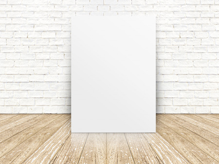 paper poster on the white  brick wall and the wood floor,template for your content photo
