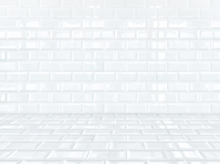 White ceramic brick tile room,background photo
