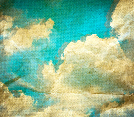 canvas art: Grunge cloud on old paper crumpled background.