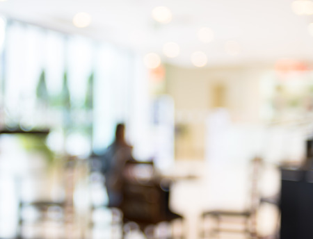 Coffee shop blur background with bokeh. Foto de archivo