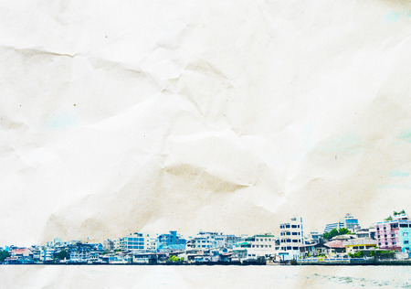 crumple: watercolor style: Riverside building landscape overlay on crumple paper.