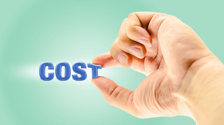 factor: Mans Finger picking  Cost  word on light green background,Business concept,one of business factor