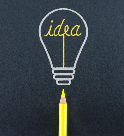 ignite: Yellow pencil sketch in  light bulb shape ignite the idea word on black craft paper ,Creativity concept