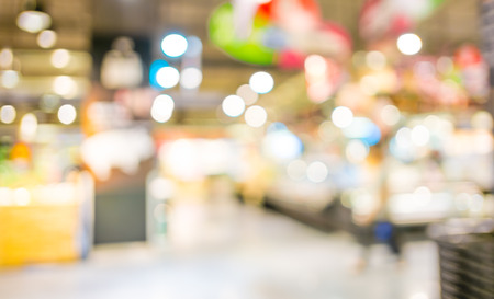 Supermarket store blur background with bokeh photo