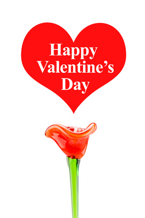 Happy Valentines Day word in red heart with red flower on white background,Love Concept. photo