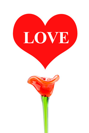Love word in red heart with red flower on white background,Love Concept. photo