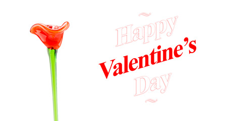 Happy Valentines day word with red glass flower on white background, Love concept, photo