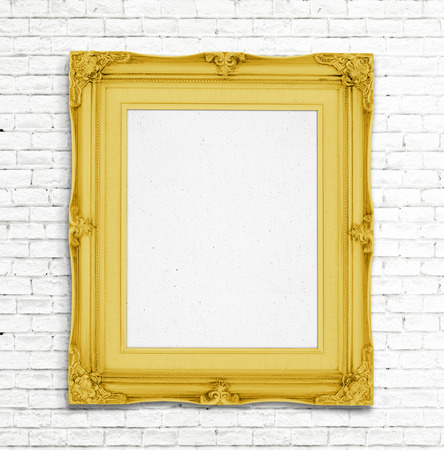 colorful frame: Blank Gold Vintage photo frame on white brick wall, Template for adding photo.