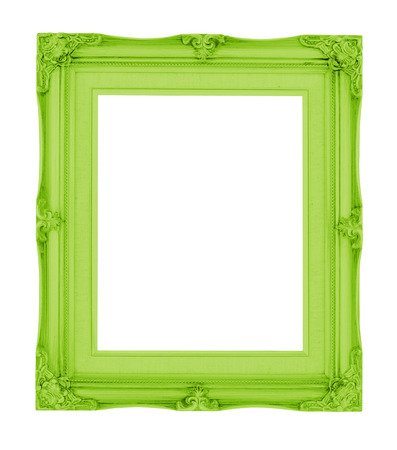 Empty contemporary vintage frame with vibrant color isolated on white background. photo