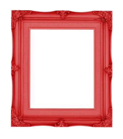 baroque border: Empty contemporary vintage frame with vibrant color isolated on white background.