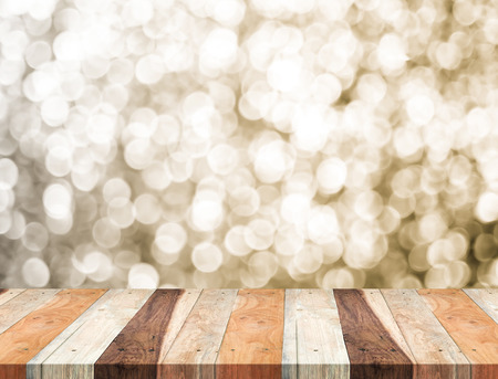 new years day: Empty perspective table with sparkling bokeh wall,Template mock up for display of your product.