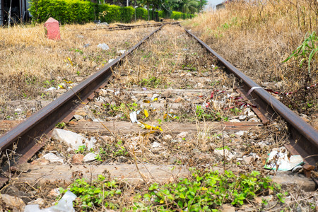 Vacant Rail way switch track with yellow die grass. photo